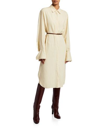 Sonia Striped Shirttdress Dress w/Leather Belt