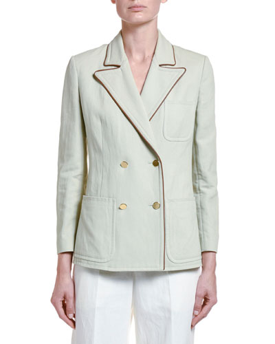 Cotton-Twill Double-Breasted Jacket
