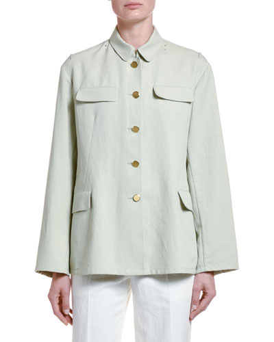 Cotton Twill Button-Front Coat