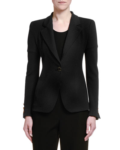 Crepe Jersey One-Button Jacket