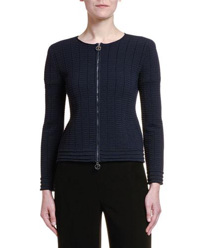Ottoman Knit Zip-Front Jacket