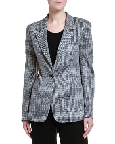 Checked Linen One-Button Blazer Jacket