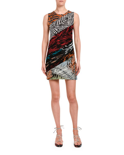 Multi Media Sleeveless Mini Fitted Dress