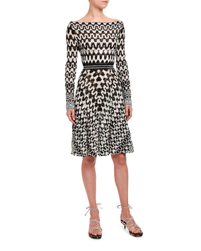 Optical Chevron Knit Long-Sleeve Dress