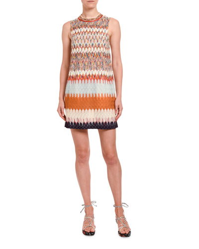 Jewel-Neck Degrade Knit Mini Dress