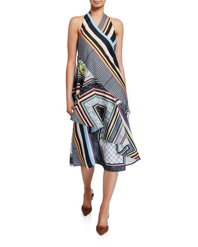 Asymmetric Ruffled Halter Dress
