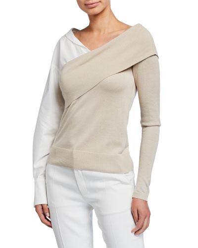Two-Way Knit Poplin-Sleeve Sweater