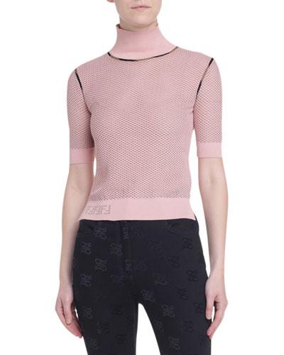 Short-Sleeve Mesh Sweater