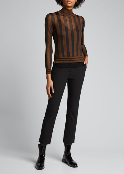 Silk Semisheer Striped Turtleneck Sweater