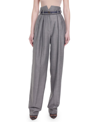 High-Rise Menswear Wide-Leg Pants