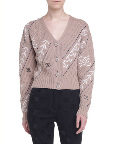 Wool-Cashmere Button-Front Crop Cardigan