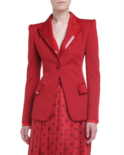 Patent Leather-Trim Crepe Blazer Jacket