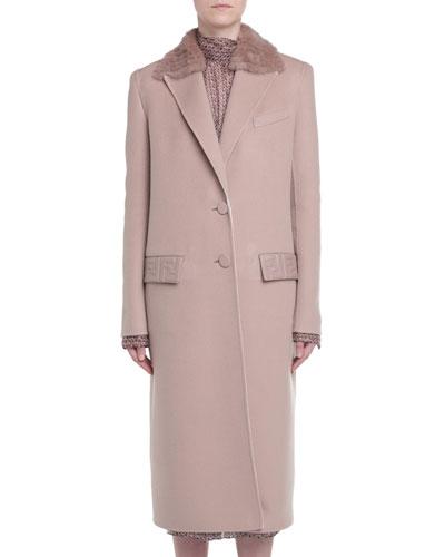 Mink Fur-Trim Cashmere Coat