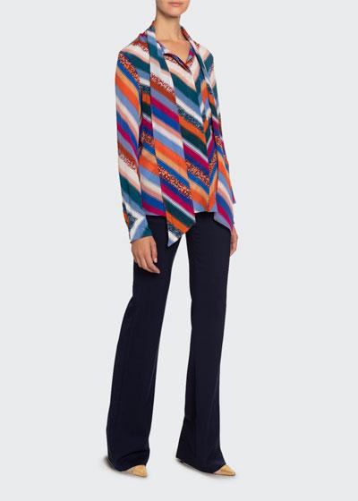 Newberry Chevron-Striped Chiffon Tie-Neck Blouse