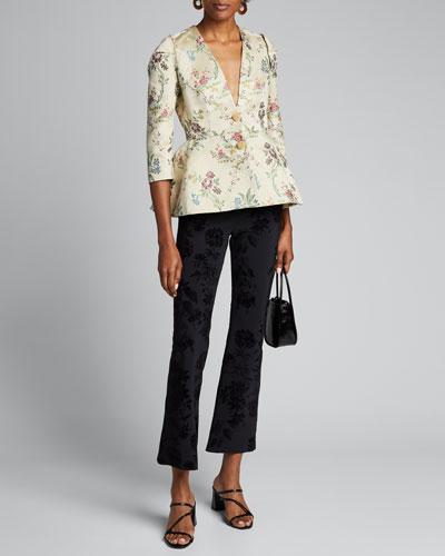 Floral Print Cotton-Silk Jacket