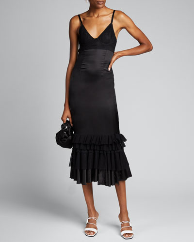 Woven Flounce-Hem Dress