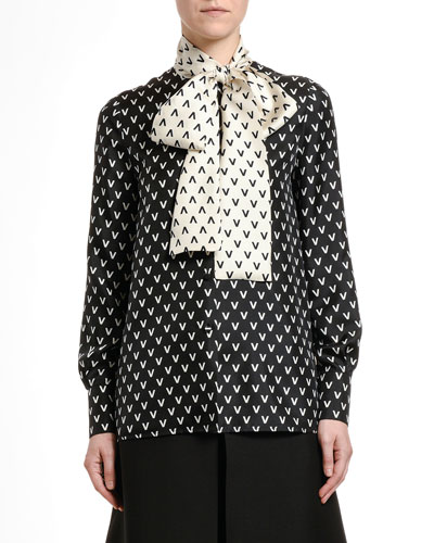 Silk Logo-Print Tie-Neck Blouse