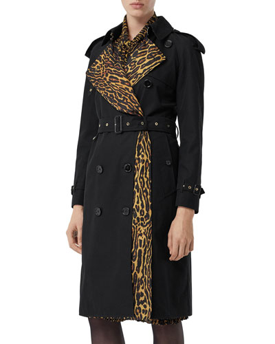 Bridstow Cotton Gabardine Trench Coat with Animal-Print Face