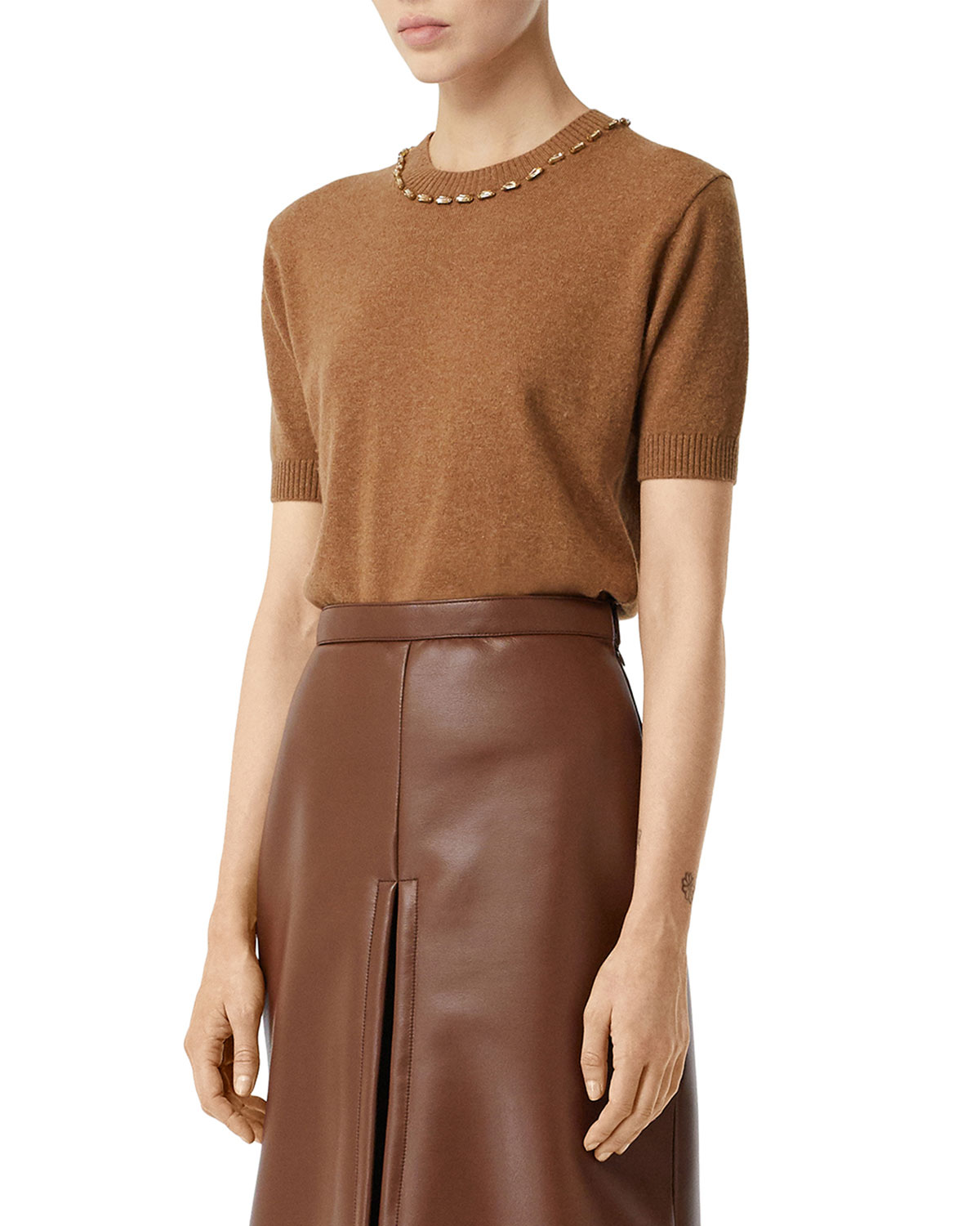 Burberry Sweaters CASHMERE SHORT-SLEEVE SWEATER