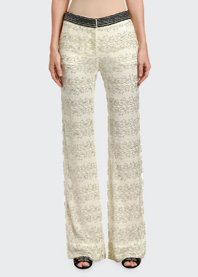 Embroidered Lace Pajama-Style Evening Pants