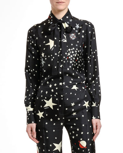 Galaxy Print Silk Button-Front Blouse