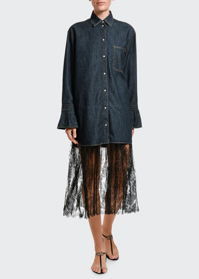 Denim & Lace Midi Shirtdress