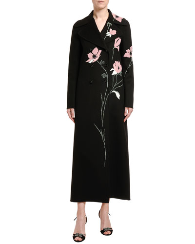 Compact Wool-Cashmere Floral Embroidered Coat