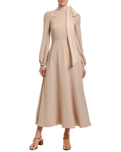 Cady Couture Tie-Neck Long-Sleeve Dress