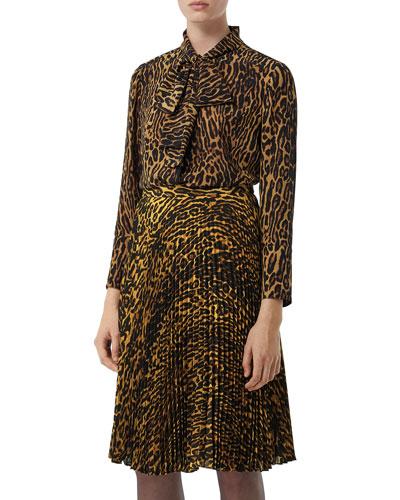 Amelie Leopard-Print Silk Button-Front Shirt