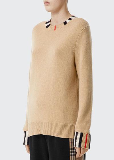 Cashmere Check-Trim Sweater, Beige