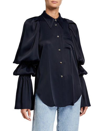 Leith Satin Tiered-Sleeve Shirt