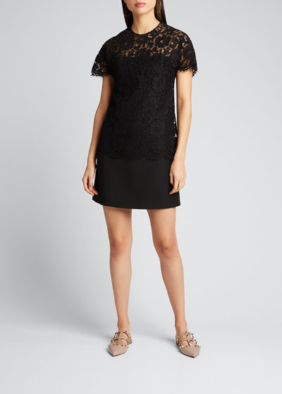 Heavy Lace Short-Sleeve Dress
