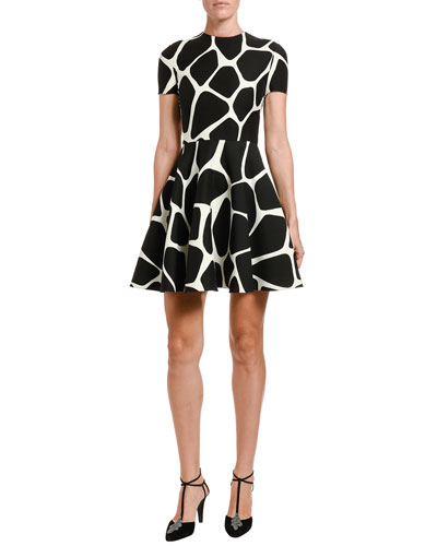 Giraffe Crepe Couture A-Line Dress
