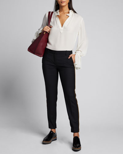 Leo Stretch Wool Straight-Leg Pants