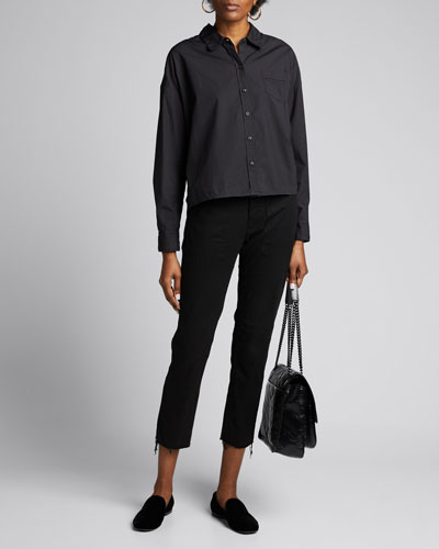 Teagan Poplin Button-Front Shirt