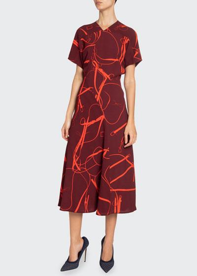 Paneled V-Neck Midi Dress