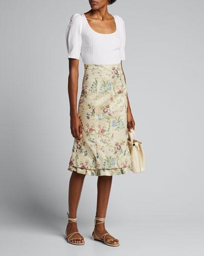 Floral-Print High-Rise Skirt
