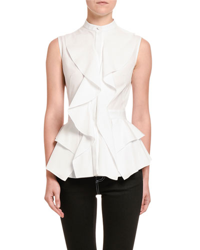 Poplin Ruffled-Front Sleeveless Top