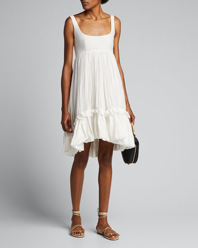 Ruffled Cotton-Silk Scoop-Neck Dress