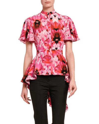 Floral Silk High-Low Flutter-Sleeve Shirt