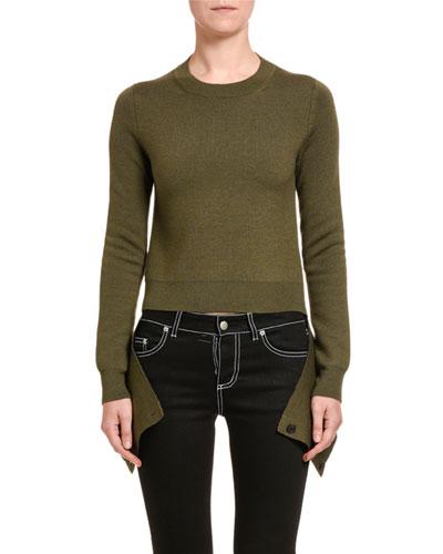 Wool-Silk Slash-Hem Sweater