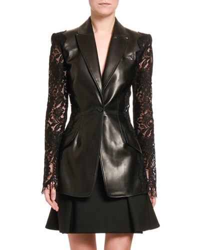 Leather Blazer with Lace Sleeves