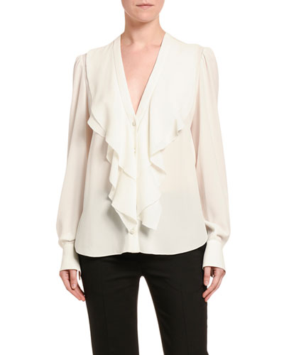 Silk Ruffled-Front V-Neck Blouse