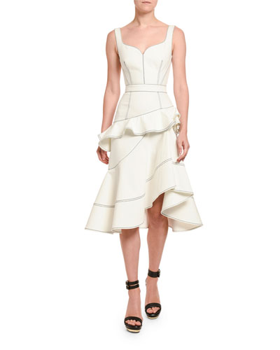 Contrast-Stitched Ruffle-Front Dress