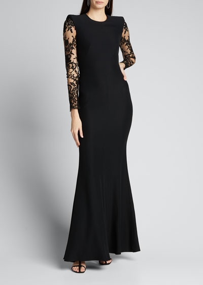Lace-Sleeve Crepe Column Gown