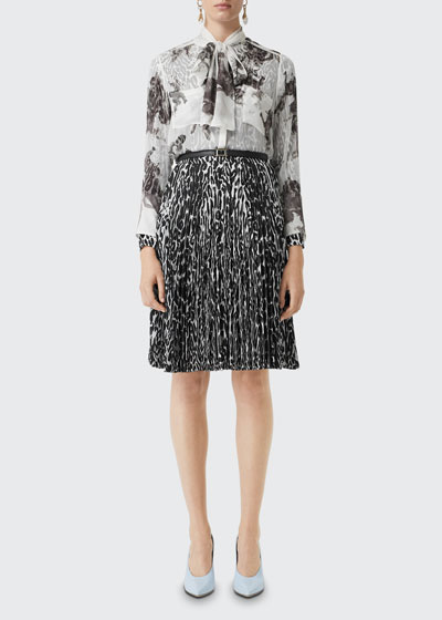 Amelie Bow-Neck Printed Silk Blouse