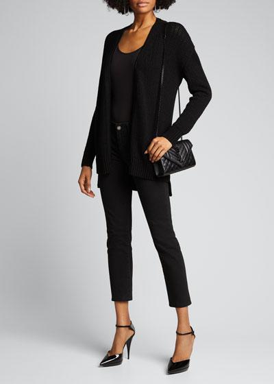 Wool Zip-Front Long Cardigan