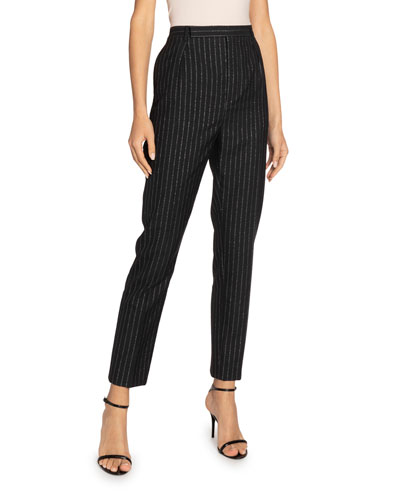 Metallic Pinstriped High-Rise Trousers