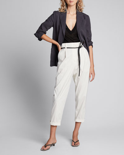 Pinstriped Stretch Cotton Trousers w/ Belt