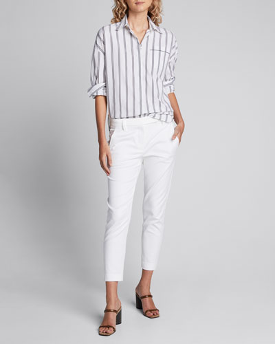 Striped Poplin Button-Front Shirt